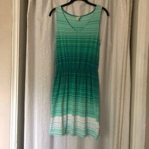 Striped V Neck Shirt Dress With Tie Waist